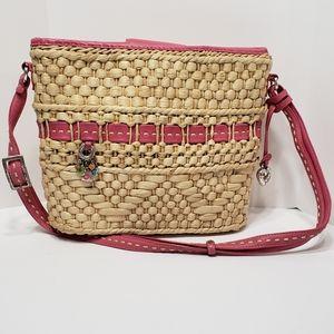 Brighton Carmela Straw Bucket Crossbody Bag